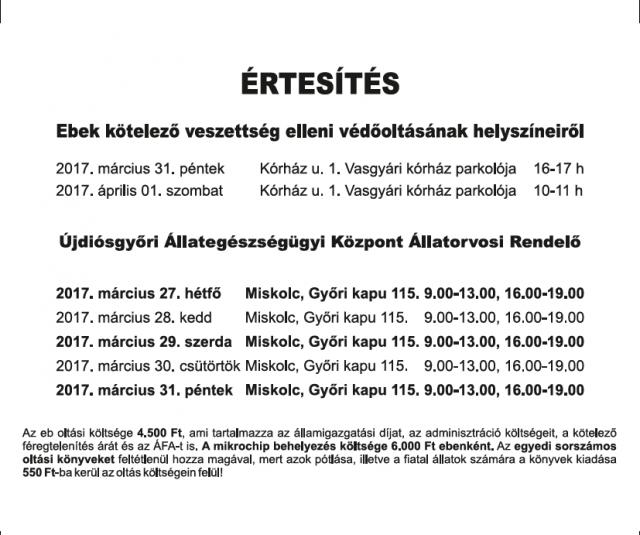 <br /> Veszettségoltás  akció 2017